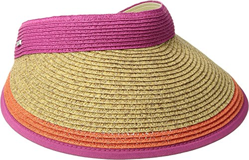 San Diego Hat Company Women's UBV047 Visor With Contrast Color Stripe and Adjustable Back Hot Pink One Size - Contrast Visor
