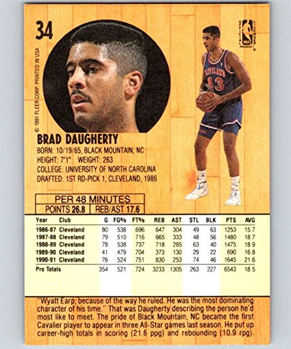 47e70ede42d44 Amazon.com: 1991-92 Fleer #34 Brad Daugherty Cavaliers NBA ...