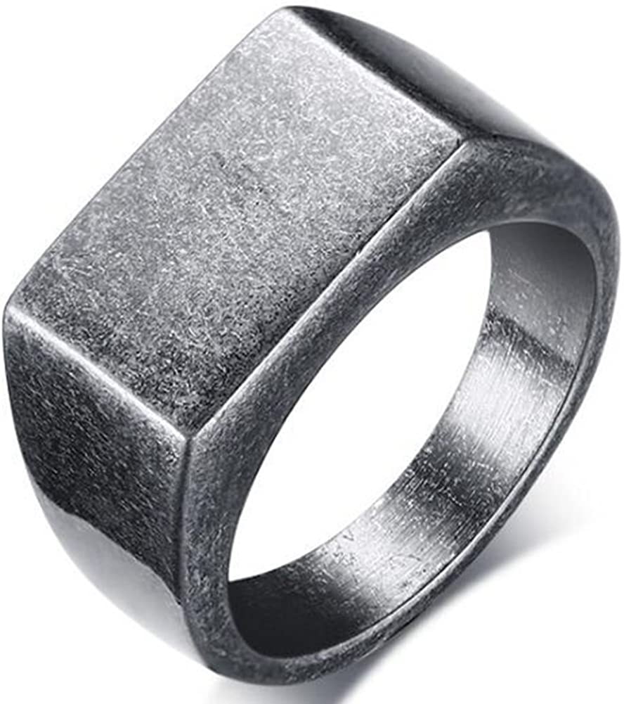Size 7-14 Stainless Steel Signet Black Onyx Ring Biker Classical Retro Vintage