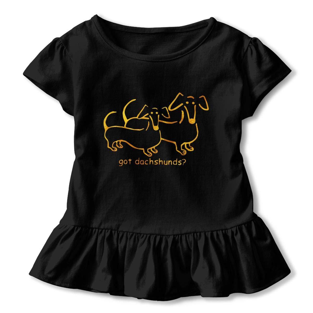 Clarissa Bertha Got Dachshunds Dog Funny Toddler Baby Girls Short Sleeve Ruffle T-Shirt