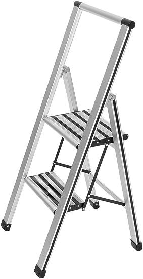 WENKO Escalera plegable en diseño de aluminio 2 peldaños, 2 marches, Aluminio, 44 x 101 x 5.5 cm, Plata mate: Amazon.es: Bricolaje y herramientas