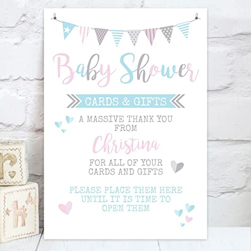 Personalised baby shower cards and gift table sign bs3 amazon personalised baby shower cards and gift table sign bs3 negle