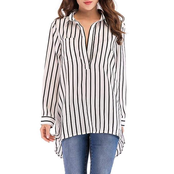MEIbax Damen beiläufige Plus Größen reizvolle Oberseiten Lange Hülsen  Gestreifte Taschen Bluse langes Hemd Oberteile Langarmshirt 8e1e5304d4