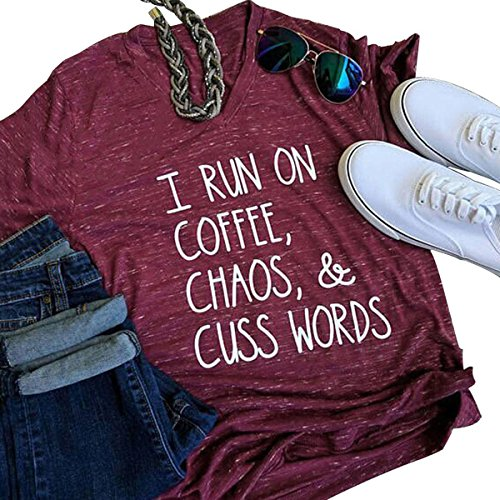 MAXIMGR Womens I Run On Coffee Chaos Cuss Words Funny V-Neck Short Sleeve Summer T-Shirt size M (Burgundy)