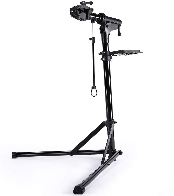 CXWXC Soporte de Reparación de Bicicletas, Soporte de Reparación de Bicicletas de Aluminio con Bandeja Magnética, Ajustable, Ligero, Portátil, para Mantenimiento de Bicicletas Champán