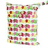 Wet Dry Bag Baby Cloth Diaper Nappy Bag Reusable with Two Zippered Pockets (Colorful elephant)