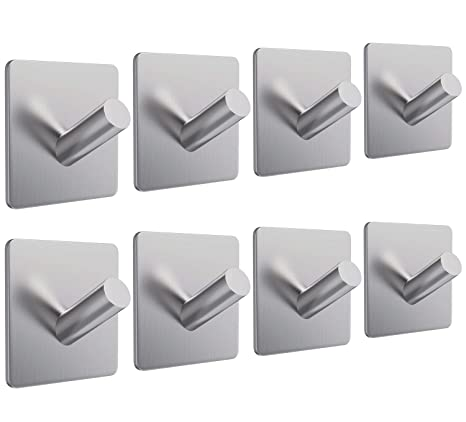 8x Self Adhesive Hooks Stainless Steel Strong Sticky Stick on Wall Door Bathroom