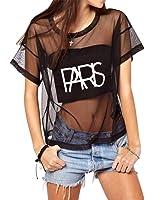 WuLun Women's Sexy Summer Street Paris Letter Print See Through Mesh T-Shirts Tops