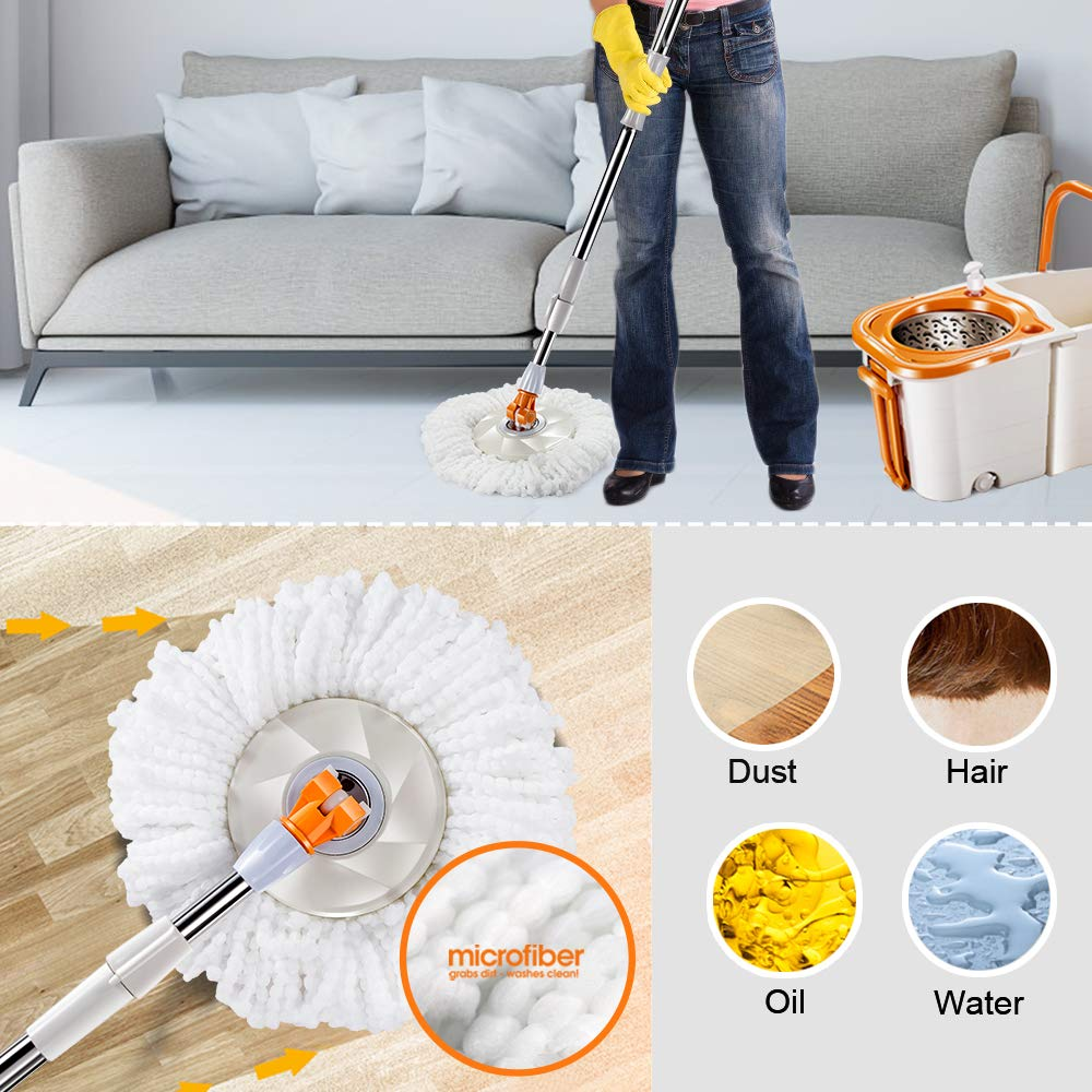 Spin Mop Detachable Wheel Bucket System with 3 Microfiber Mop Heads Stainless Steel Rolling Mop Set for Floor Cleaning Masthome by Masthome (Image #5)
