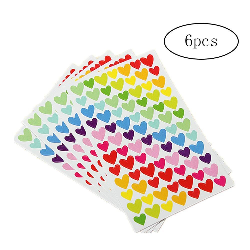 NICETOURNE Modello Regalo del Cuore 6 PCS colorato Autoadesivo Decorativo autoadesive Packaging Sticker Album Artigianato Bambini Sticker