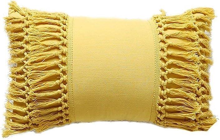 Tassel Bolster Throw Pillow Yellow Cotton Throw Pillow case Cushion Covers ,12