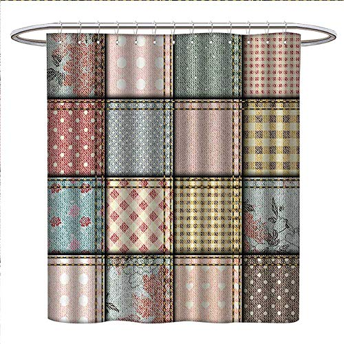 Anniutwo Shabby Chic Shower Curtains Mildew Resistant Patchwork Denim Seem Fabric Pieces with Stitches Square Tile Digital Print Satin Fabric Bathroom Washable W69 x L75 - Patchwork Shabby Curtains