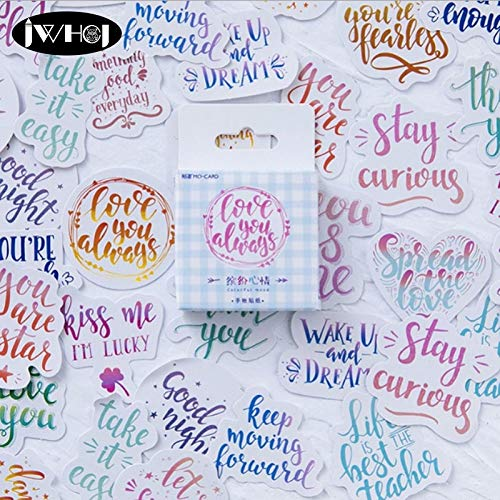 Best Quality - Stickers - 45pc/Box Colorful Mood English Letter Sticker Paper Decoration Sticker DIY Handmade Diary Album Scrapbooking Sticker Arts,Crafts - by BLUESKYUP - 1 PCs -