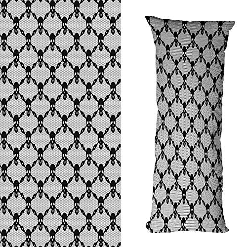 duommhome Gothic Breathable Pillowcase Halloween Horror Theme Spooky Black Skulls Checkered Pattern with Skeleton Bones Mildew Proof W17.7X L27.5 inch Black White -