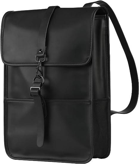 Travel Backpack 14 Inch Laptop Backpack Male and Female Student School Bag Waterproof PU Leather Backpack Handbag black