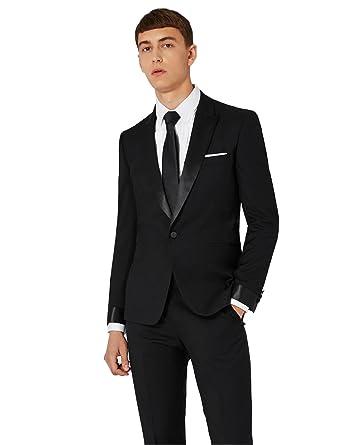Dressvip Costume Homme pour Mariage Réunion Animateur Couleur Unie Noir un  Bouton à la Mode 2 38c3f5d719c