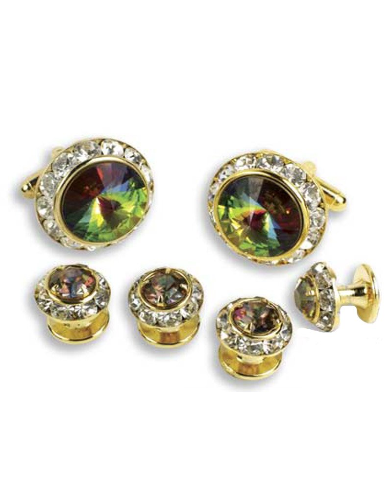 Crystal Cufflinks and Studs with Mardi Gras Center