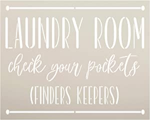 Laundry Room - Finders Keepers Stencil by StudioR12 | DIY Funny Rustic Home Decor | Craft & Paint Wood Sign | Reusable Mylar Template | Cursive Script Gift | Select Size (20 inches x 16 inches)