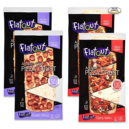 Variety 4 Pack, Flatout Thin Crust Flatbreads Artisan Pizza, Rustic White (2), Spicy Italian (2)