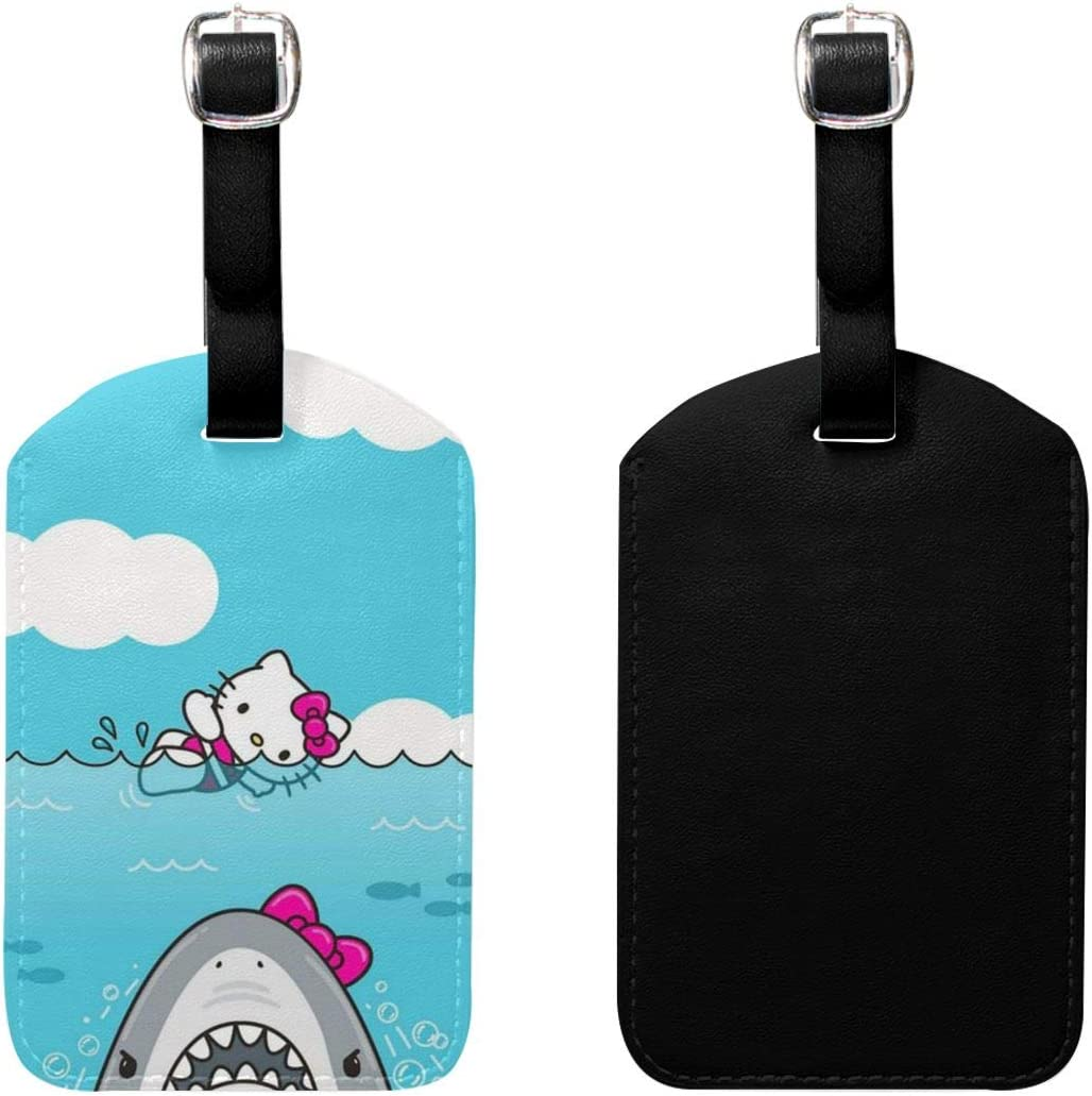 Set of 2 PU Leather Luggage Tags One Piece Suitcase Labels Bag Adjustable Leather Strap Travel Accessories