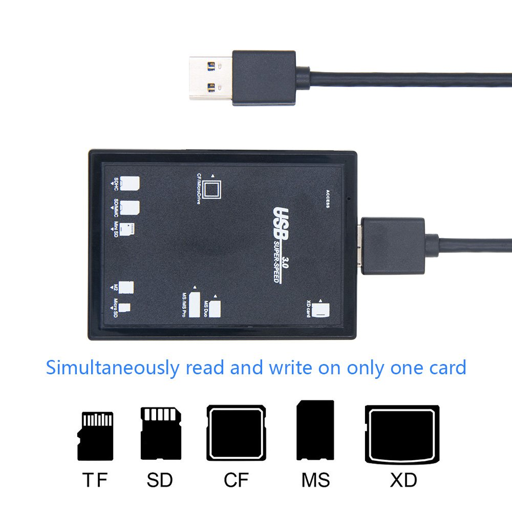 E2APM USB 3.0 Computer Card Readers Compact Flash Memory Card Reader Multi Card Slot for Micro SD, SD, SDHC, SDXC, CF, XD, MS