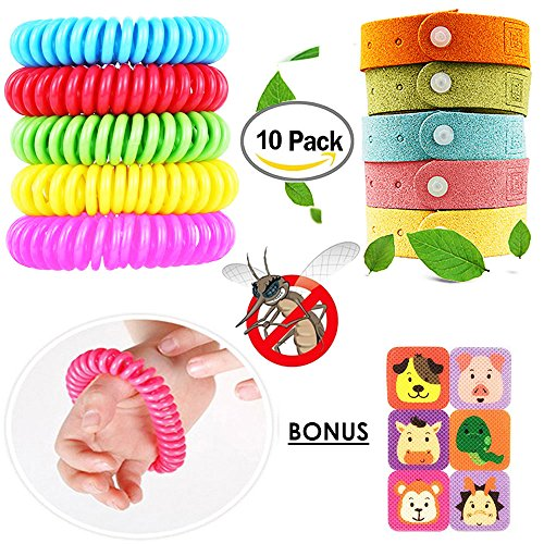 Young & More 100% DEET FREE Travel Mosquito Repellent Bracelets 10 Pcs, Bonus 6 Mosquito Repellent Patches - 100% All Natural Plant-Based Oil - For Adults and - 100 Deet Repellent Insect