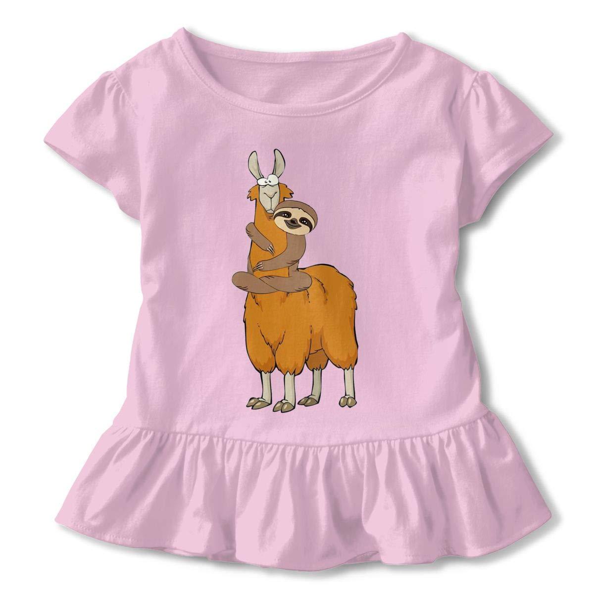 NMDJC CCQ Sloth Riding Llama Baby Skirts Cute Kids T Shirt Dress Short Sleeve Flounces Costume