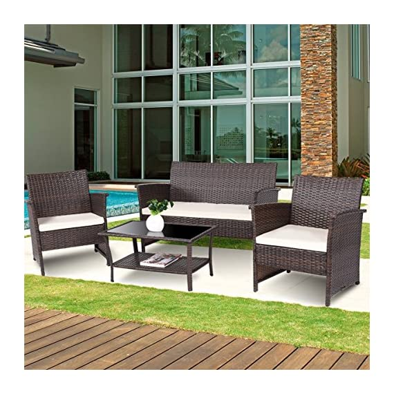 Tangkula Outdoor Patio Furniture 4 Piece Cushioned Sofa and Coffee Table Set Tea Table with 2 Shelves Lawn Balcony Pool Compact Conversation Set - Sturdy & Weather-Resistant: Our wicker furniture set constructed by strong powder coated steel frame and weather-resistant PE rattan with waterproof function and top of coffee table is made of safe tempered glass. Comfortable Cushion & Removable Cover: Soft cushioned seats will allow you and your guests to comfortably sit back, relax and enjoy the great outdoors. With waterproof function and zippered cushions which can be replaced and washed. Multi-Purpose: Our furniture set is a excellent choice to your patio, balconies, apartment, terrace, breakfast nooks or pool side and offers comfortable and exceptionally stunning outdoor leisure. You can forget the stress and troubles of work and enjoy a comfortable and relaxing life. - patio-furniture, dining-sets-patio-funiture, patio - 61gNBePDUTL. SS570  -