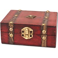 OUNONA Wooden Pirate Treasure Chest Vintage Lock Jewellery Storage Box Case Organizer Birthday Gift Party Favors