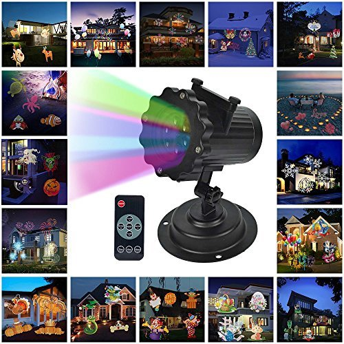 LOHOME Outdoor Light Projector - Snowflakes Santa Claus Spotlight Lamp Wall and Tree Christmas Holiday Garden Landscape Decoration Projector Light Including 16 Lens (Santa Lamp)