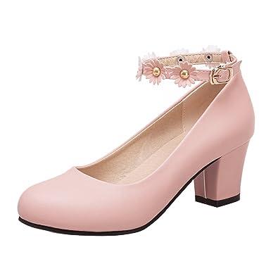 YE Damen Ankle Strap Pumps Blockabsatz Plateau High Heels Geschlossen mit  Riemchen und Perlen Elegant Schuhe fb3ffd7e1d