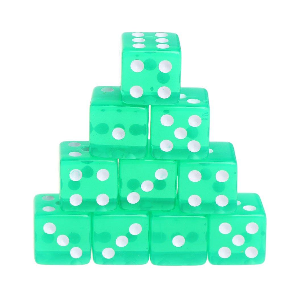 Manyo 10pcs 6 Seitige Transparent Würfel, leicht und tragbar, perfekt für Brettspiel, Club und Bar Spiel Tool, Familienspiel, Math Teaching. (Grün) perfekt für Brettspiel Math Teaching. (Grün)