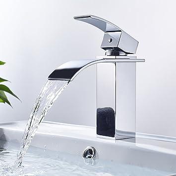 Auralum Robinet de Lavabo Mitigeur de Salle de Bain Robinet Cascade pour  Vasque Solide Brillant Laiton 4c3c25fa157c