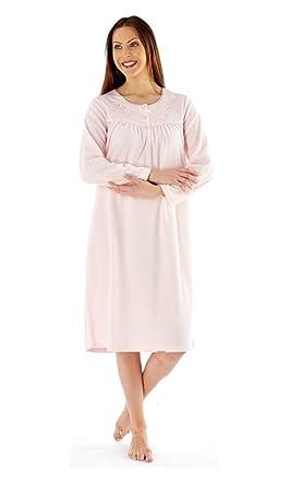 Ladies Embroidered Soft Fleece Long Sleeve Nightie Nightwear Nightdress   Amazon.co.uk  Clothing eb1179d68
