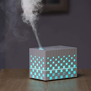MissRHEA 220ml USB Essential Oil Diffuser Humidifier, Magic Box Ultrasonic Aroma Diffuser, Cool Mist Humidifiers with Color Changing Lights&Waterless Auto Off for office, home, bedroom, living room