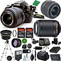Nikon D3200, NIKKOR 18-55mm f/3.5-5.6 VR, Nikon 55-200mm f4-5.6G VR, 2pcs 16GB ZeeTech Memory, Case, Wide Angle, Telephoto, Battery, Charger