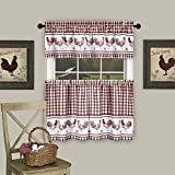 #7: GoodGram Country Home Plaid Rooster Kitchen Curtain Tier & Valance Set - Assorted Colors & Sizes (36 in. Long, Burgundy)
