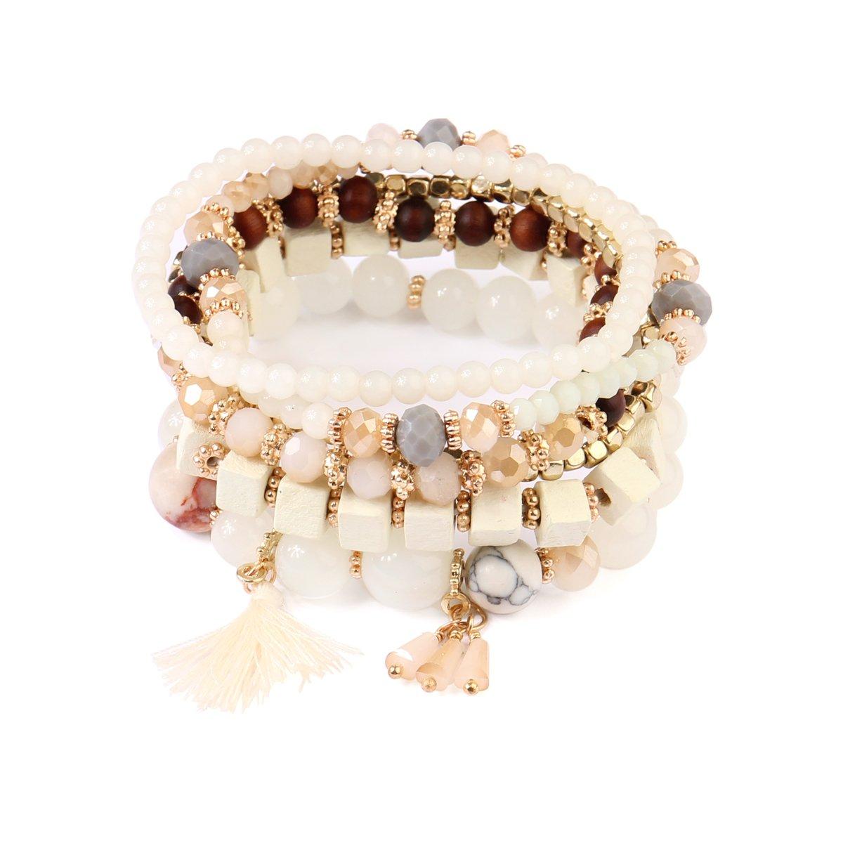 kpajewelry KPA Fashion Women's Wood Multi Bead Tassel Stretch Bracelets - Stackable Beaded Strand Bangles (Natural)