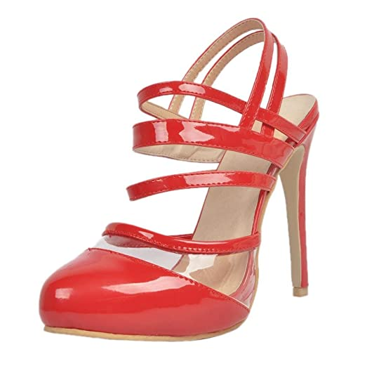 YCMDM Women's Stiletto Heel Sandals Patent red leather Nightclub Party  Evening Office Career Fashion Shoes ,