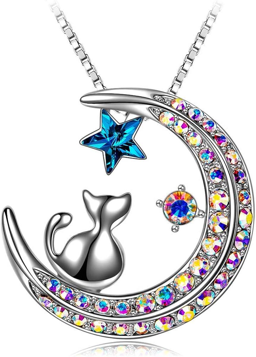 J.RENEÉ Luna Estrella Colgantes Mujer, con Cristal de Swarovski, Joyas para Mujer, Collares Mujer, Regalos para Mujer