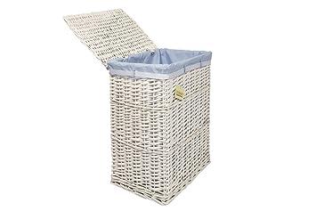 Amazon.de: 1 X weißer Wäschekorb, Weidenkorb/Wäschekorb, Badezimmer ...