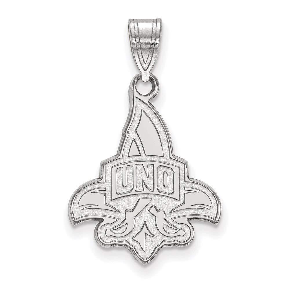 Lex /& Lu LogoArt 10k White Gold University of New Orleans Large Pendant