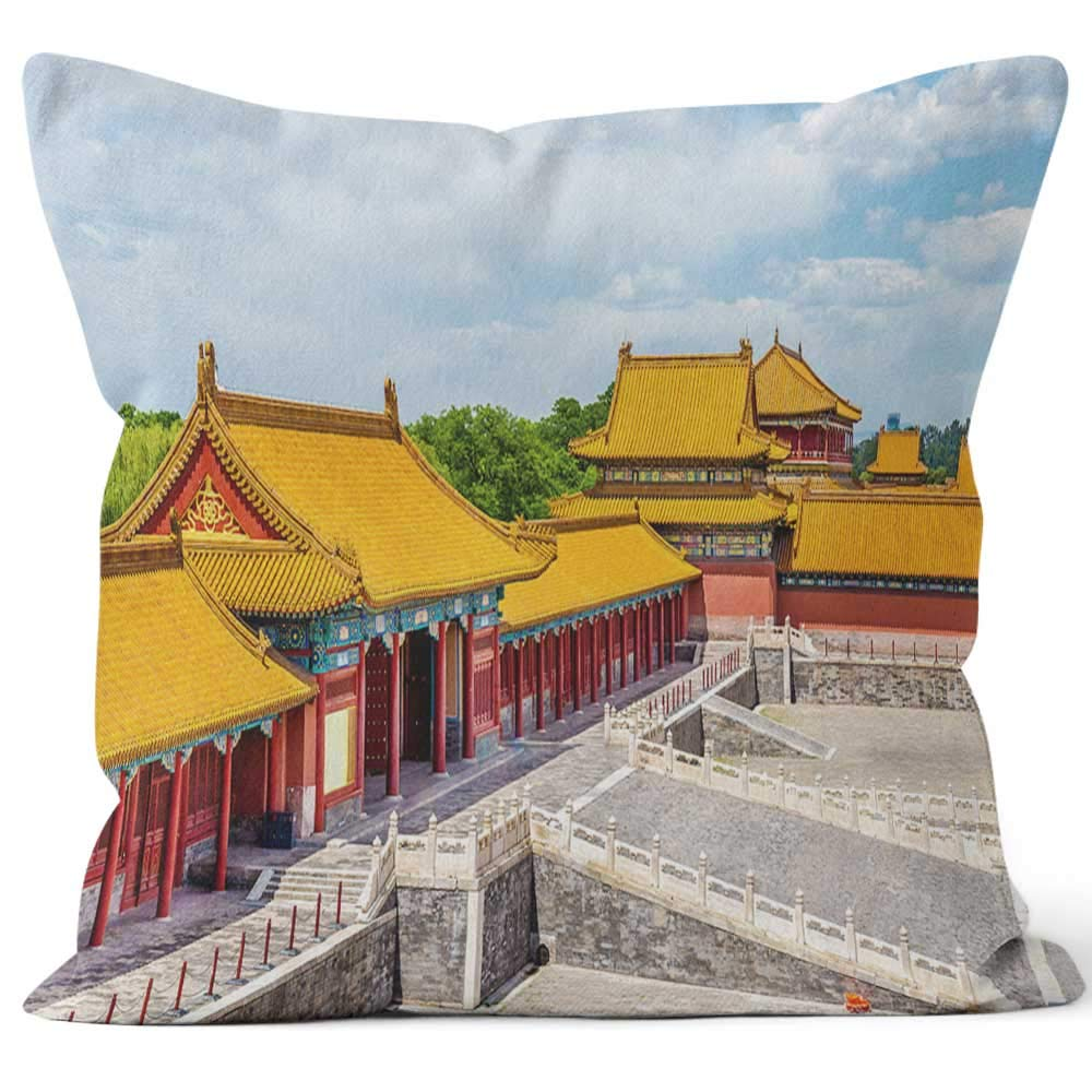 "View of The Forbidden City or Palace Museum Beijing Sack Burlap Pillow,HD Printing Square Pillow case,16"" W by 16"" L"