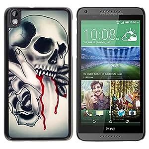 "For HTC DESIRE 816 Case , Vampire tatuaje Colmillo de Sangre de tinta motorista"" - Diseño Patrón Teléfono Caso Cubierta Case Bumper Duro Protección Case Cover Funda"