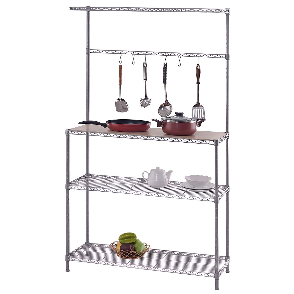 DPThouse VD-55010HW 4 Tier Baker's Rack Adjustable Microwave Oven Organizer Stand Kitchen Storage Shelf with Cutting Board Workstation, Silver