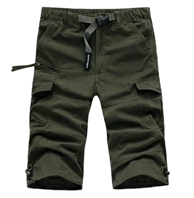 6899652dd5 Oberora-Men Summer Mid Waist Multi Pockets Beach Cargo Shorts Capri Pants  Trousers Army Green