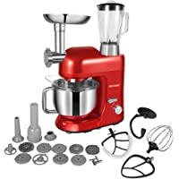 CHEFTRONIC Stand Mixer Tilt-head mixers SM-1086 120V/650W 5.5qt Stainless Steel Mixing Bowl 6 Speed Kitchen Electric Mixer come with Flex Edge Beater Flat Beater Dough Hook Wire Whip Sausage Maker,Blender and Grinder .