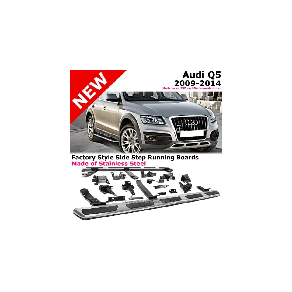2009 to 2014 Audi Q5 09 14 Stainless Steel Running Board Side Steps Nerf Bars Gunmetal Black Color