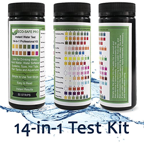 Water Test Strip Kit - 14 in 1, 14-Way for Drinking Water Quality, Way Water, Hard Water and Total Hardness, Water Softener Systems, Spas, Hot Tubs, Fish Tanks and Aquariums. Easy Professional Results