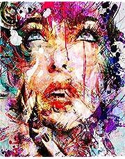 YEESAM ART Doe-het-zelf olieverfschilderij, schilderen op nummers, volwassenen en kinderen, abstract, kleurrijk, vrouwen, gezicht, cijferschilderen vanaf 5 olieverf, muurkunst, kleurrijk, zonder lijst